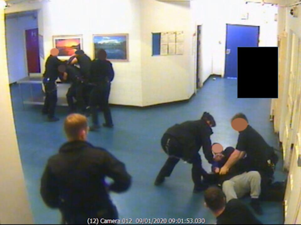 CCTV of the aftermath of the attack by Brusthom Ziamani and Baz Hockton on prison guard Neil Trundle. (PA)