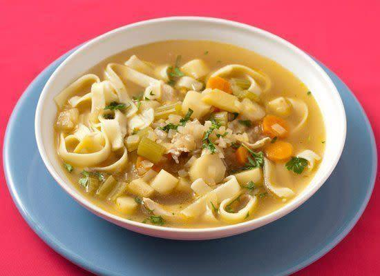 "<strong>Get the <a href=""http://www.huffingtonpost.com/2011/10/27/chicken-noodle-soup_n_1057327.html"" rel=""nofollow noopener"" target=""_blank"" data-ylk=""slk:Chicken Noodle Soup recipe"" class=""link rapid-noclick-resp"">Chicken Noodle Soup recipe</a></strong>"