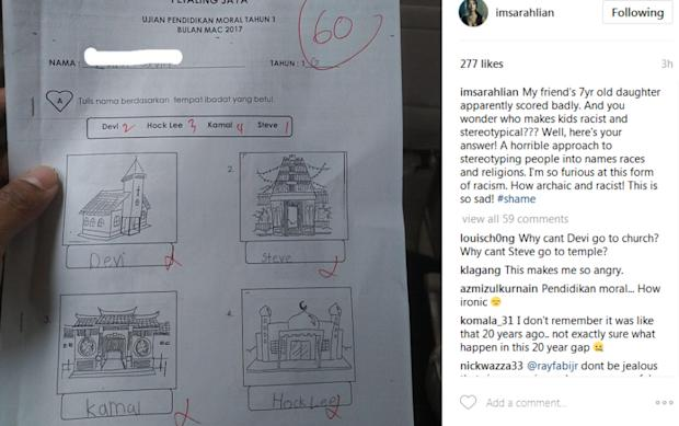 In a post on Instagram, Lian shared a picture of a moral test paper apparently from a national school in Petaling Jaya that asked students to associate names to different houses of worship.