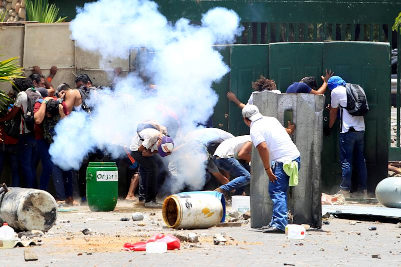 Students from the Universidad Agraria (UNA) public university protest against reforms that implement changes to the pension plans of the Nicaraguan Social Security Institute (INSS) in Managua