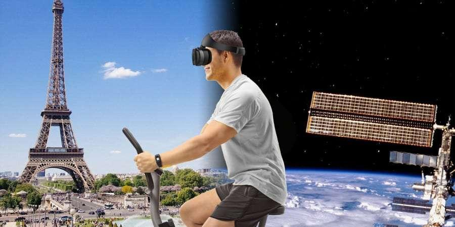 À bord de l'ISS, Thomas Pesquet pourra se « téléporter » sur les routes de France et de Navarre grâce au dispositif Fit Immersion de la start-up française Perform VR. © Fit Immersion, Perform VR