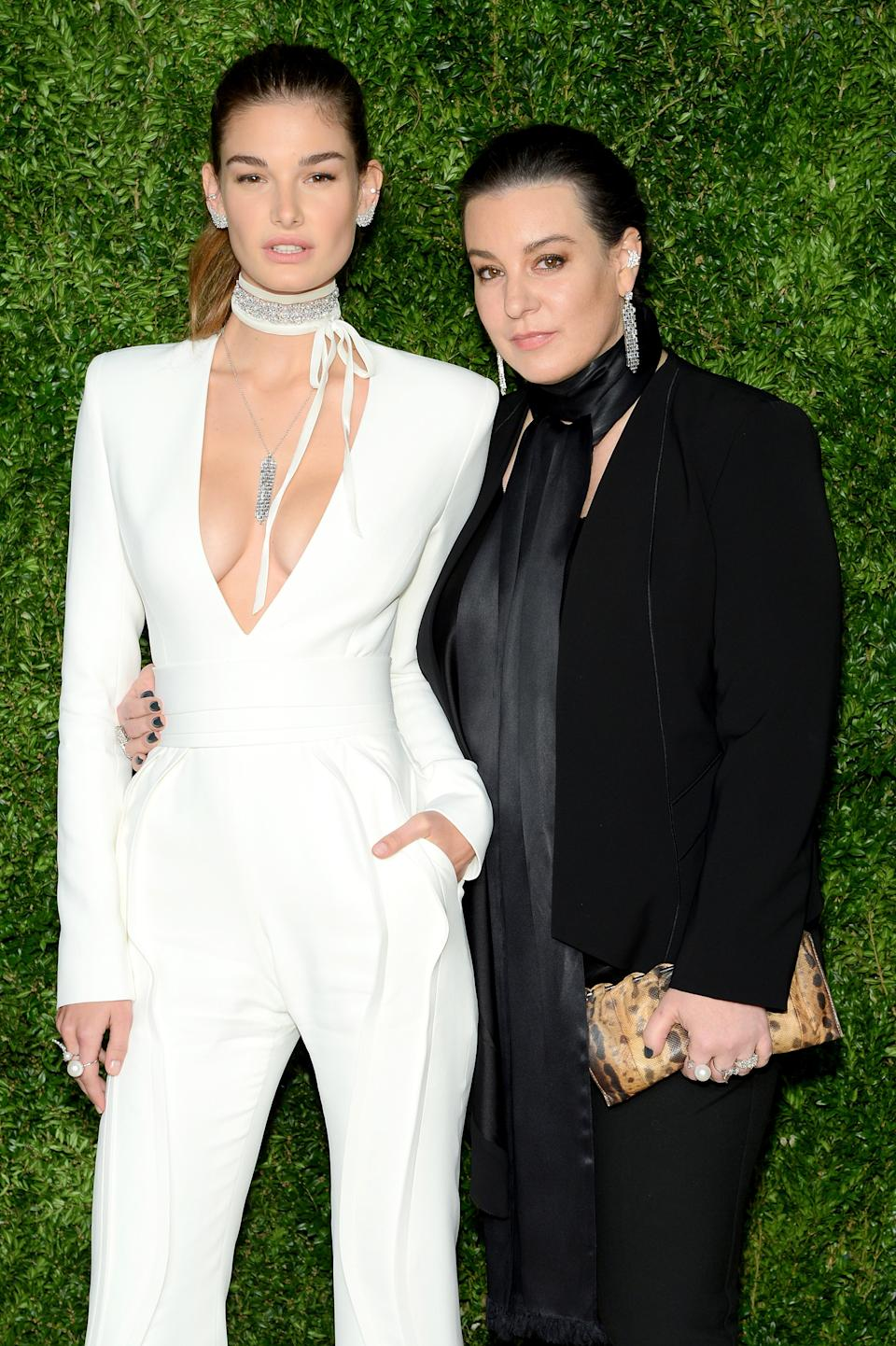 Jewelry designer Dana Lorenz (right, with model Ophelie Guillermand in 2015) canceled her CFDA membership in protest over Kara Ross's involvement with its board. (Photo: Andrew Toth/Getty Images)