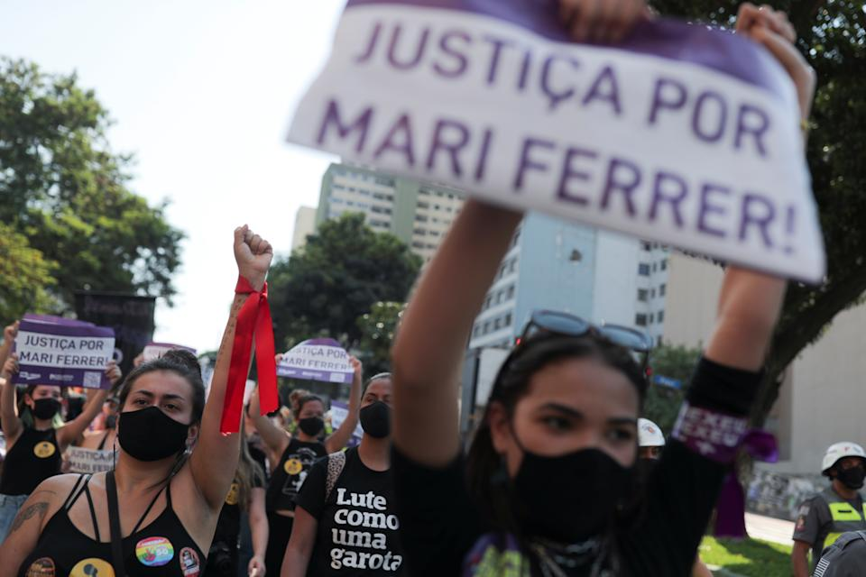 People take part in a protest for justice for rape victims and justice for Mariana Ferrer, who was verbally attacked by a defendant's attorney during a rape trial in which the defendant was later acquitted, in Sao Paulo, Brazil November 8, 2020. REUTERS/Amanda Perobelli