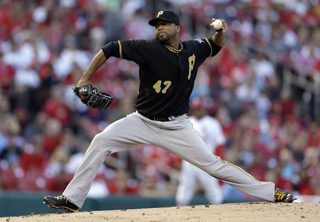 Pittsburgh Pirates starting pitcher Francisco Liriano throws during the first inning of a baseball game against the St. Louis Cardinals Wednesday, Aug. 14, 2013, in St. Louis. (AP Photo/Jeff Roberson)
