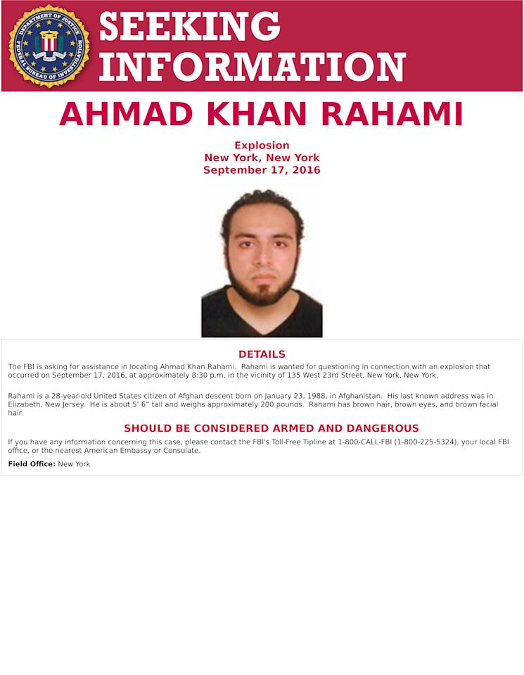 This poster provided by the FBI shows Ahmad Khan Rahami, wanted for questioning Monday, Sept. 19, 2016, in bombings that rocked a Manhattan neighborhood and a New Jersey shore town. (FBI via AP)