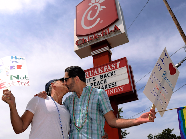 Chick-fil-A kiss in
