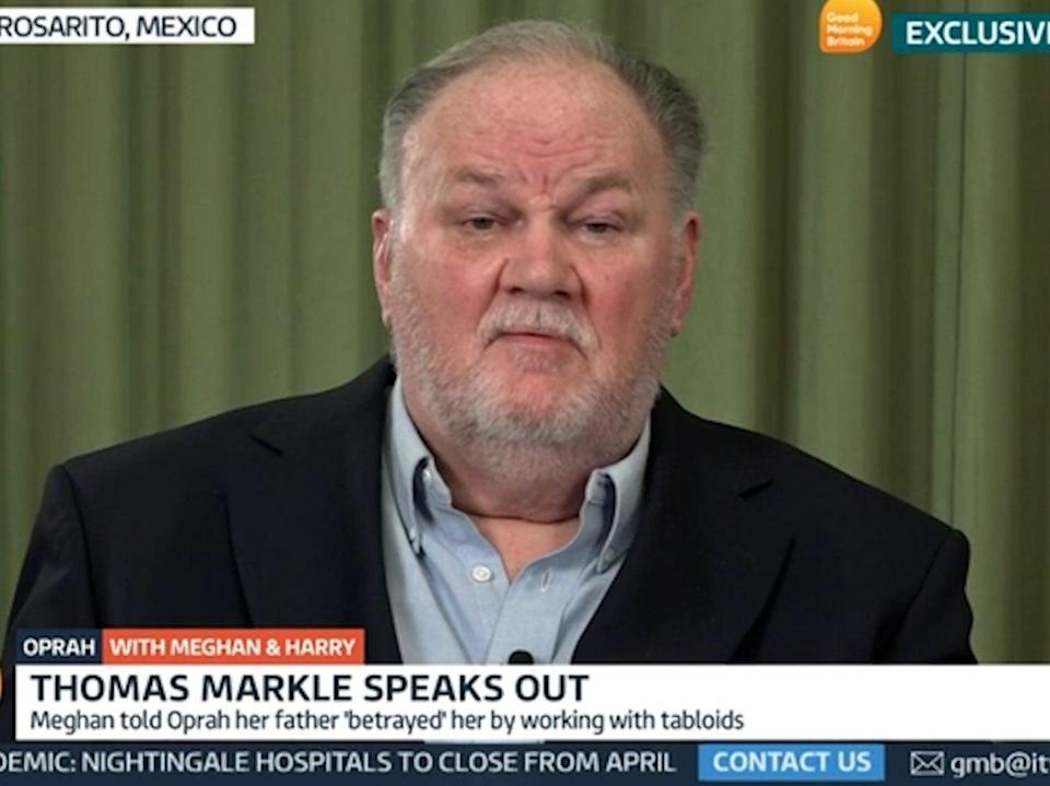 Thomas Markle, father of Meghan Markle, speaks to Good Morning Britain about his daughter's interview with Oprah Winfrey (Good Morning Britain)