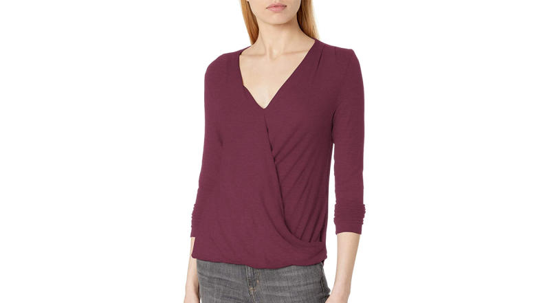 Daily Ritual Women's Rayon Spandex Fine Rib Draped Long-Sleeve Top (Photo: Amazon)