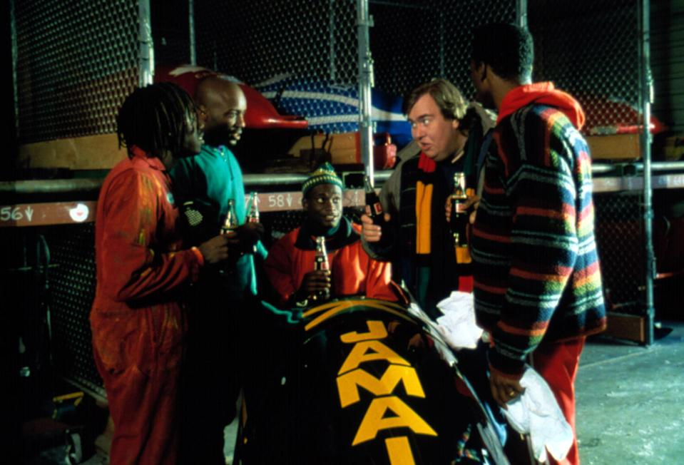Doug E. Doug, Malik Yoba, Rawle D. Lewis, John Candy, and Leon in <i>Cool Runnings</i>. Director Jon Turteltaub told Yahoo Entertainment he initially thought of Kurt Russell for Candy's role. (Photo: Everett Collection)