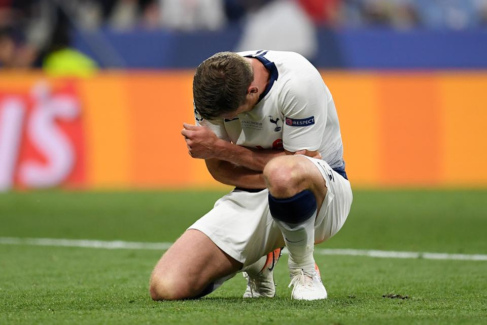 Toby Alderweireld of Tottenham Hotspur is left with an injury (Photo by Matthias Hangst/Getty Images)