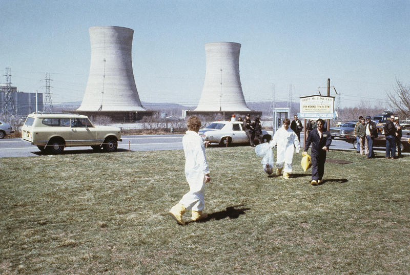 FILE - This undated file photo shows the Three Mile Island nuclear power plant in, Middletown, Pa. The owner of Three Mile Island, site of the United States' worst commercial nuclear power accident, is acknowledging in a Wednesday, May 8, 2019 statement that it is unlikely to get a financial rescue from Pennsylvania and says it plans to go through with a shutdown starting June 1. (AP Photo, File)
