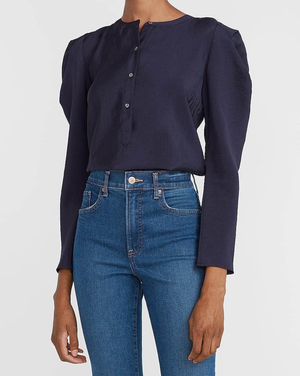 <p>I'm all for this <span>Puff Sleeve Button Front Top</span> ($42, originally $60).</p>