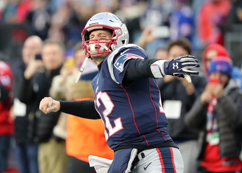 New England Patriots quarterback Tom Brady was fired up to play the Bills. (Photo by Matthew J. Lee/The Boston Globe via Getty Images)