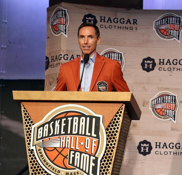 Steve Nash speaks during the Class of 2018 press event as part of the 2018 Basketball Hall of Fame Enshrinement Ceremony on Thursday in Springfield, Massachusetts. (Getty)