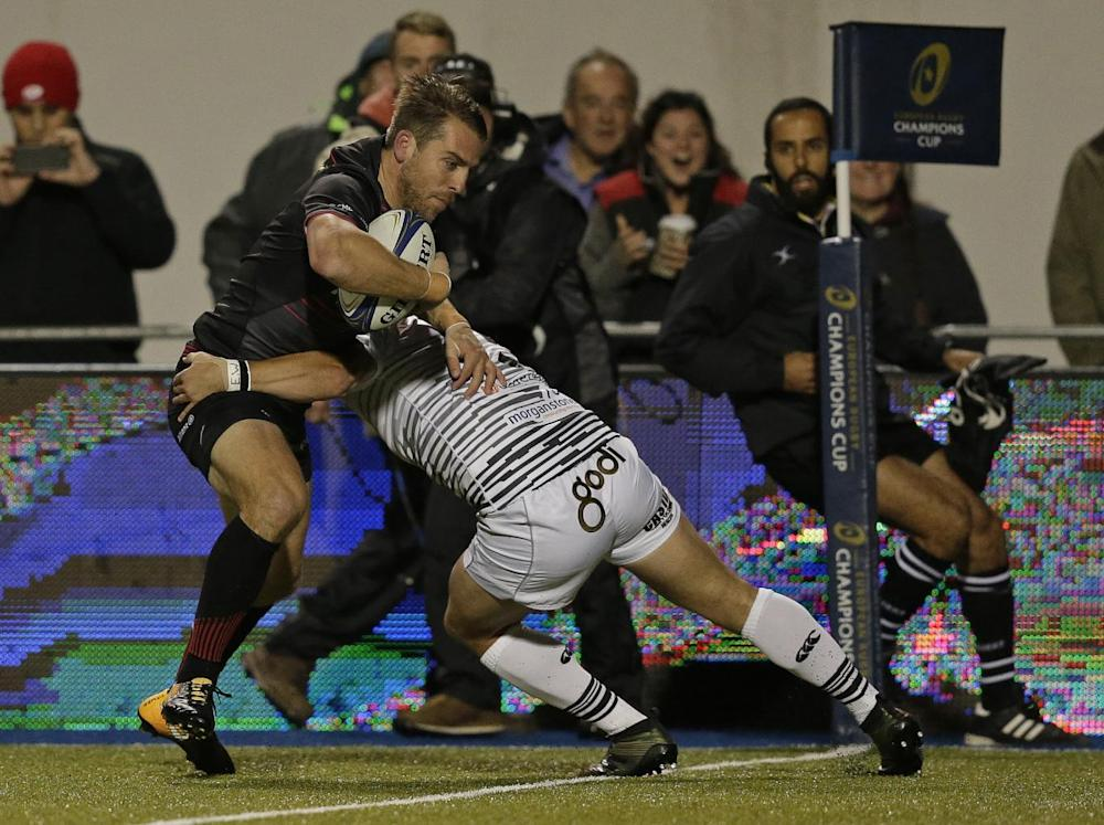 Chris Wyles of Saracens powers his way across the line (Getty)