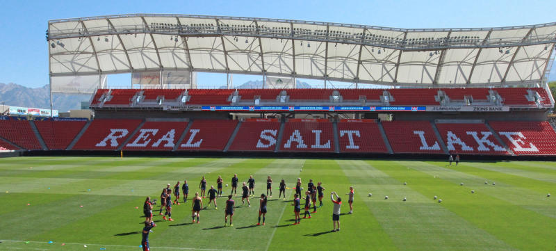 Rio Tinto Stadium in Sandy, Utah, will be one of two sites in the Salt Lake City area that will host the NWSL's Challenge Cup as the first American team sports league to return. (AP Photo/Rick Bowmer, File)