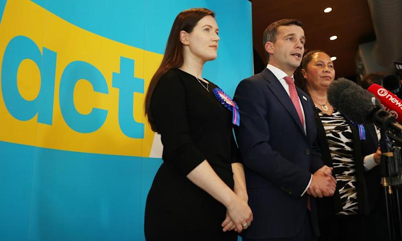 ACT deputy leader Brooke van Velden, David Seymour and Nicole McKee on the election trail in Auckland, New Zealand.