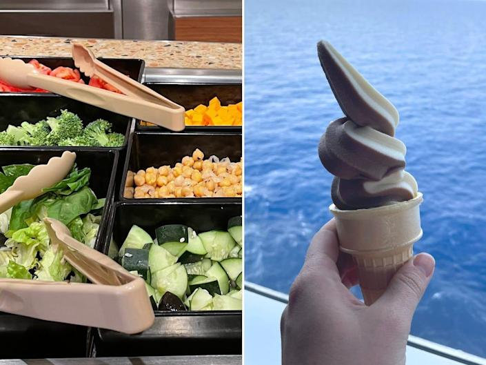 Side-by-side images of a salad bar and ice cream cone.