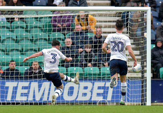 "Soccer Football - Championship - Preston North End vs Fulham - Deepdale, Preston, Britain - March 10, 2018 Preston's Greg Cunningham clears off the line Action Images/Paul Burrows EDITORIAL USE ONLY. No use with unauthorized audio, video, data, fixture lists, club/league logos or ""live"" services. Online in-match use limited to 75 images, no video emulation. No use in betting, games or single club/league/player publications. Please contact your account representative for further details."