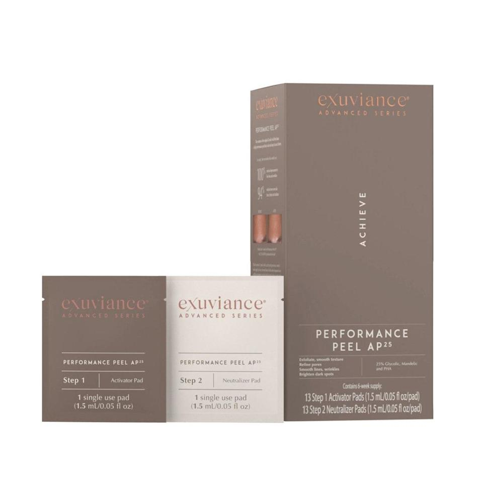 """We love a peel pad here at <em>Glamour</em>, and these ones from Exuviance are no exception. A whopping 25% blend of acids including lactic, glycolic acid, mandelic acid, and gluconolactone exfoliates to brighten skin. Use twice a week and thank us later. $79, Ulta. <a href=""""https://shop-links.co/1716515075091649769"""" rel=""""nofollow noopener"""" target=""""_blank"""" data-ylk=""""slk:Get it now!"""" class=""""link rapid-noclick-resp"""">Get it now!</a>"""