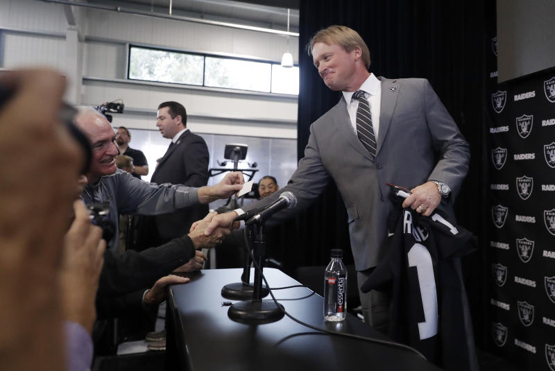 Oakland Raiders head coach Jon Gruden was the highest profile hire of this year's coaching carousel. (AP)