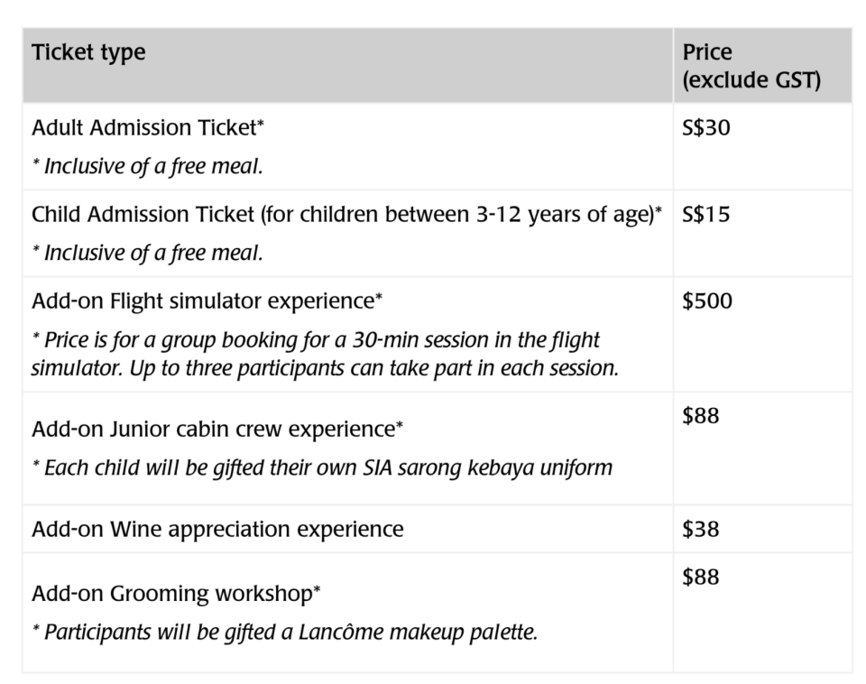 Tour pricing. (PHOTO: Singapore Airlines)