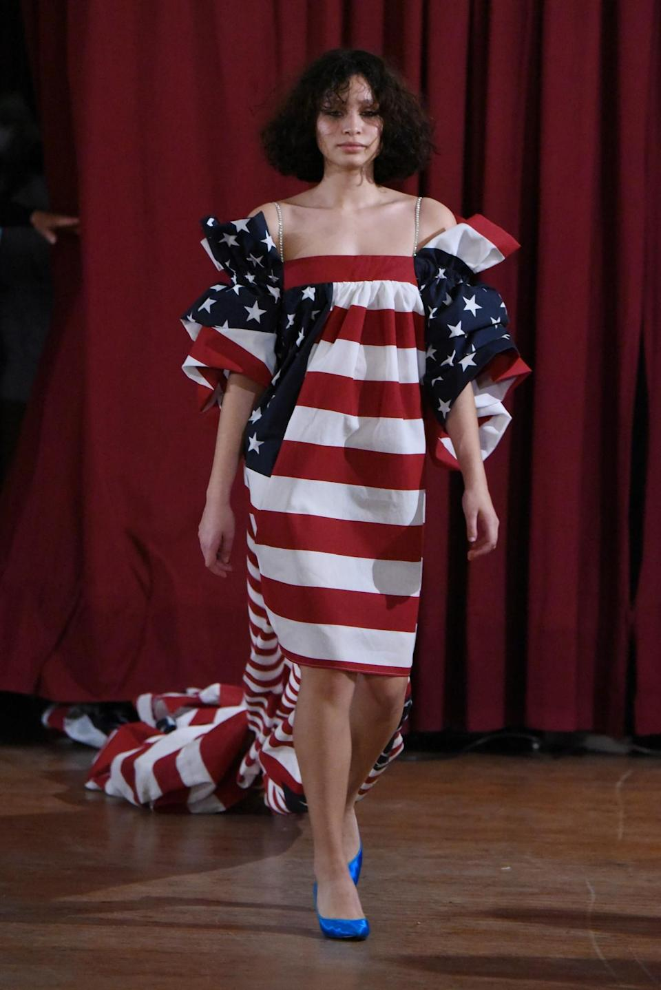 <p>This is about as literal as it gets for Americana on display at New York Fashion Week. (Photo: Getty Images) </p>