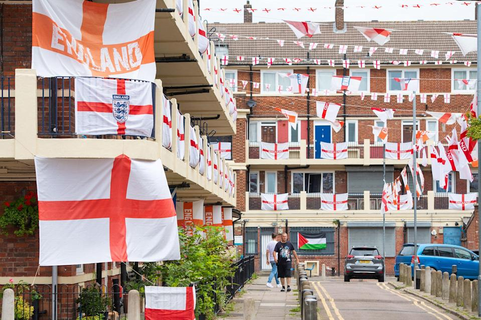 'When I was growing up in south London in the 1980s, the St. George's Flag was not so much a symbol of national identity but a warning sign' (PA)