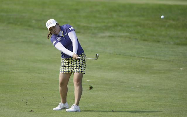 Inbee Park, of South Korea, hits from the 15th fairway during the third round of the Meijer LPGA Classic golf tournament at Blythefield Country Club, Saturday, Aug. 9, 2014, in Belmont, Mich. (AP Photo/Carlos Osorio)