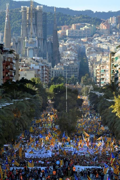 Police said some 350,000 people had turned out for the march which took place in the shadow of the Sagrada Familia basilica (AFP Photo/LLUIS GENE)