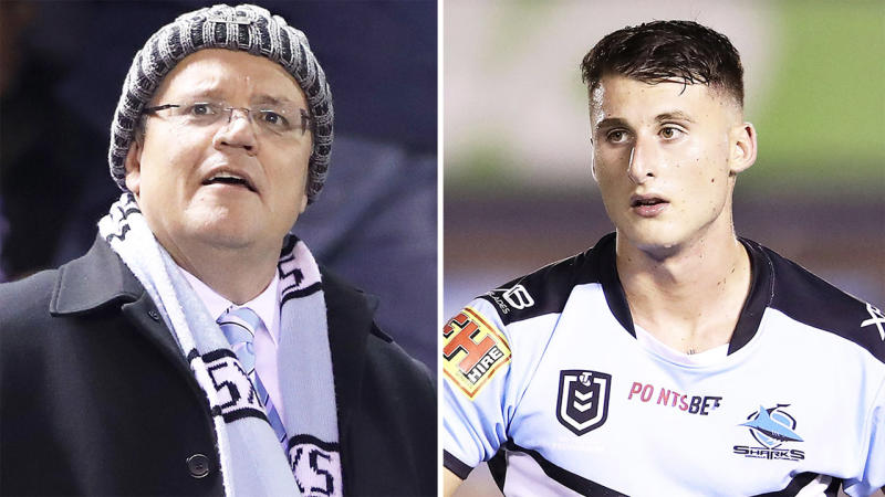 Australian Prime Minister Scott Morrison (pictured left) at a Sharks game and Bronson Xerri (pictured right) playing in the NRL.