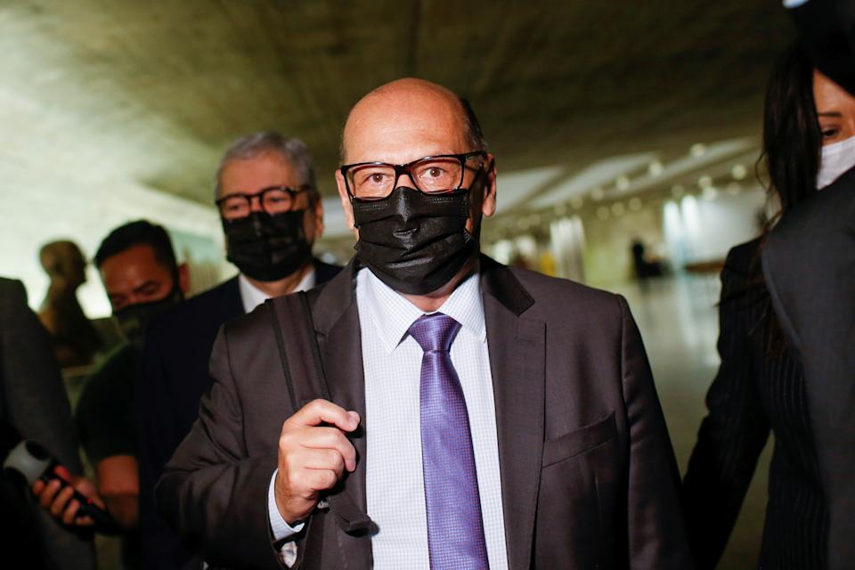 Dimas Tadeu Covas, director of Butantan Institute, arrives for a meeting of the Parliamentary Inquiry Committee (CPI) to investigate government actions and management during the coronavirus disease (COVID-19) pandemic, at the Federal Senate in Brasilia, Brazil May 27, 2021. REUTERS/Adriano Machado