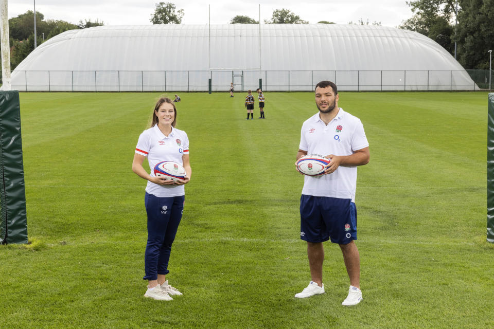 Genge, 26, and fellow England international Jess Breach, 23, revelled in a visit to Leicester Tigers' training ground to promote the campaign