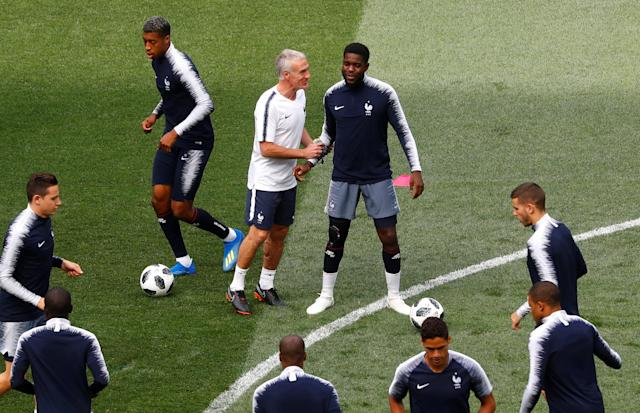 Soccer Football - World Cup - France Training - Luzhniki Stadium, Moscow, Russia - June 25, 2018 France coach Didier Deschamps and Samuel Umtiti during training REUTERS/Kai Pfaffenbach