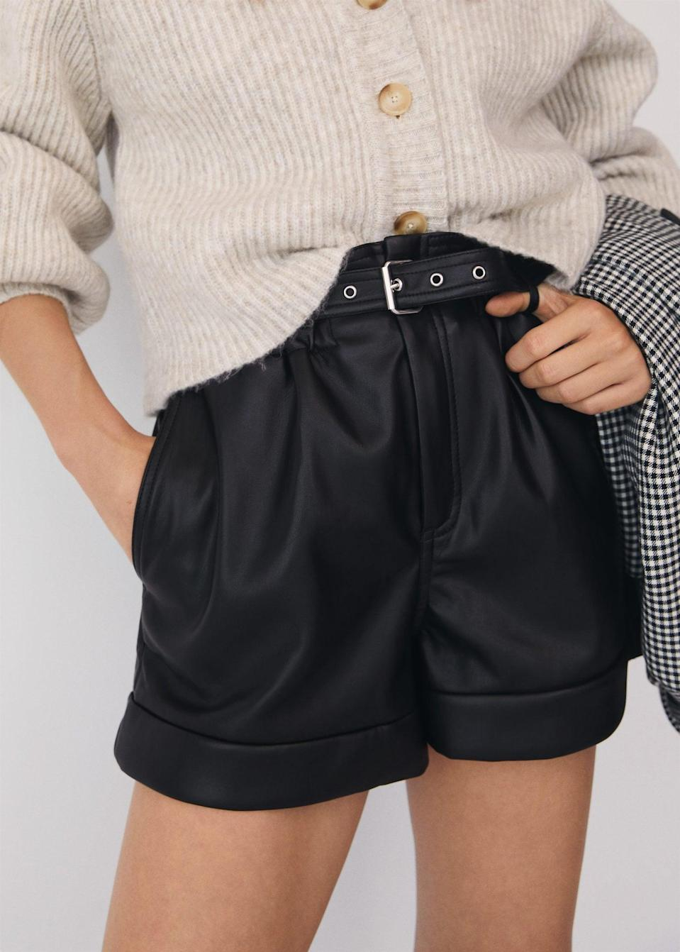 <p>These <span>Belted leather-effect shorts</span> ($50) feature an elastic waist and adjustable belt for a looser and comfy fit.</p>