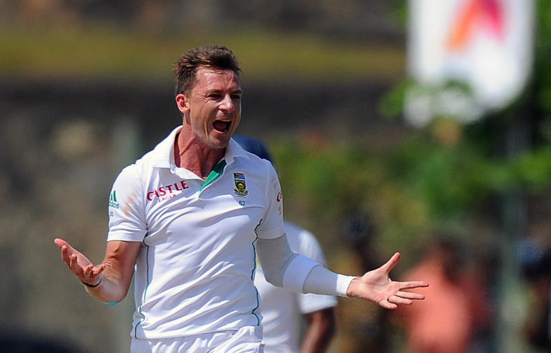 South African bowler Dale Steyn celebrates after dismissing Sri Lankan batsman Kaushal Silva (unseen) during the final day of the opening Test match at the Galle International Cricket Stadium on July 20, 2014