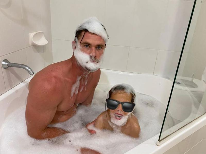Chris Hemsworth has been caught in a cheeky bath snap by his wife Elsa Pataky. Photo: Instagram/ elsapatakyconfidential