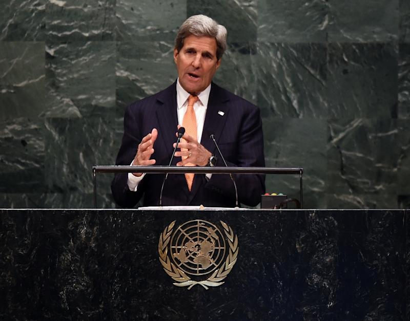 US Secretary of State John Kerry at the United Nations General Assembly on April 27, 2015 in New York City