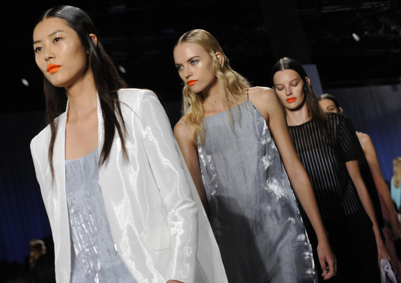 The Rag & Bone Spring 2014 collection is modeled during Fashion Week, Friday, Sept. 6, 2013, in New York. (AP Photo/Louis Lanzano)