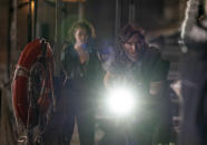 """This image released by Paramount Pictures shows Millicent Simmonds, left, and Cillian Murphy in a scene from """"A Quiet Place Part II."""" (Jonny Cournoyer/Paramount Pictures via AP)"""