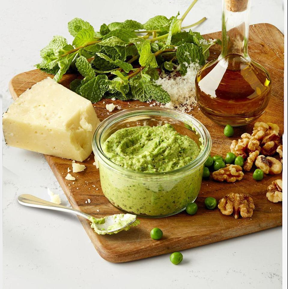 "<p>Not just a pasta sauce, try dipping raw vegetables or sliced baguette into this bright, garlicky dip.</p><p><em><a href=""https://www.womansday.com/food-recipes/a31977259/make-ahead-pea-pesto-recipe/"" rel=""nofollow noopener"" target=""_blank"" data-ylk=""slk:Get the recipe from Woman's Day »"" class=""link rapid-noclick-resp"">Get the recipe from Woman's Day »</a></em></p>"