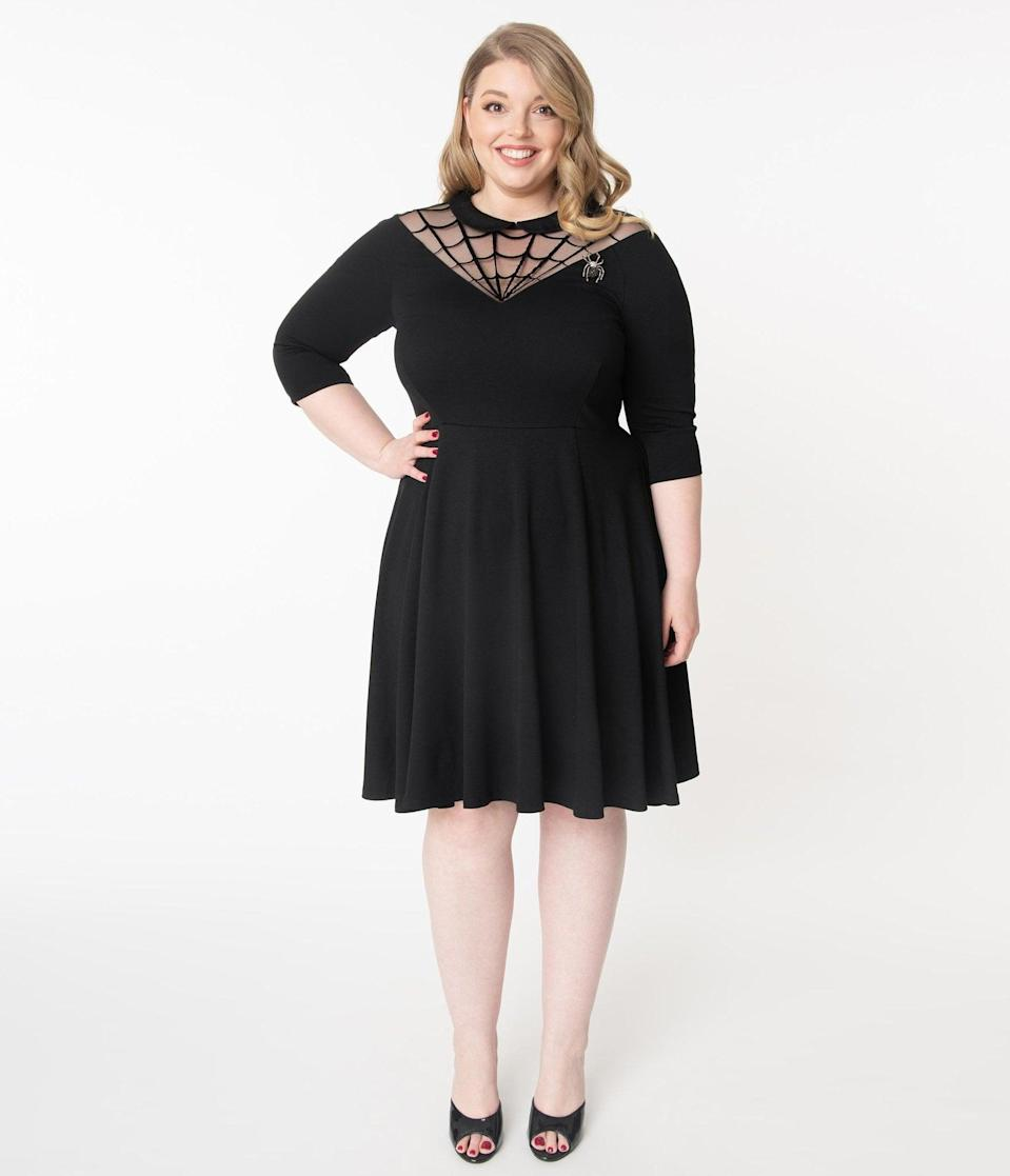 <p>This <span>Unique Vintage Plus Size Black Spiderweb Endora Fit and Flare Dress</span> ($88) is charming and subtle. </p>