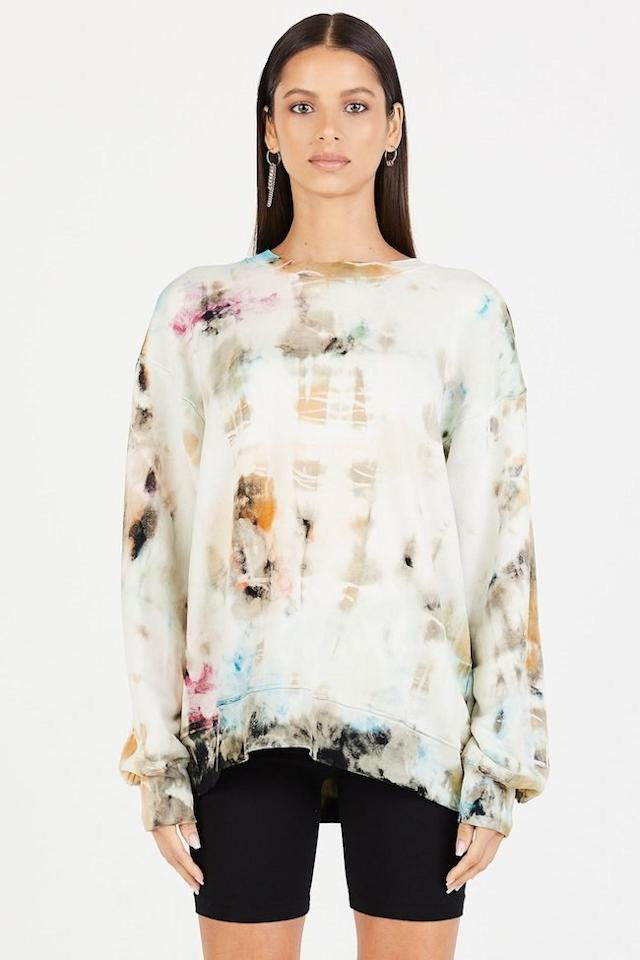 """$225, Cotton Citizen. <a href=""""https://cottoncitizen.com/collections/summer-tie-dye/products/brooklyn-oversized-crew-6"""">Get it now!</a>"""
