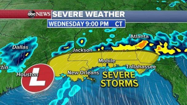 PHOTO: Wednesday afternoon and evening, a new low-pressure system will move out of Texas and will move east along the Gulf Coast. (ABC News)