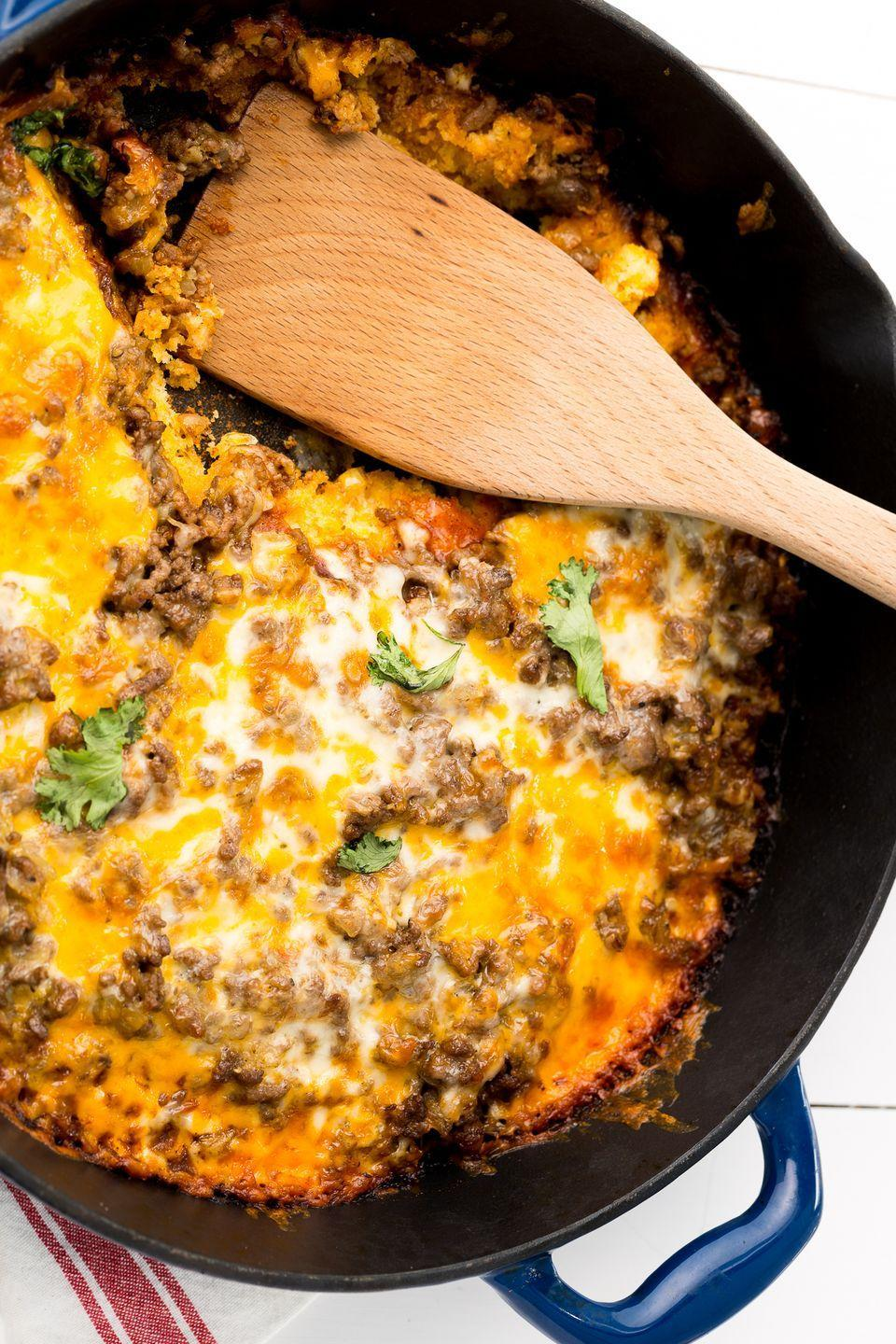 "<p>It's all about that skillet cornbread crust.</p><p>Get the recipe from <a href=""https://www.delish.com/cooking/recipe-ideas/recipes/a46964/tamale-pie/"" rel=""nofollow noopener"" target=""_blank"" data-ylk=""slk:Delish"" class=""link rapid-noclick-resp"">Delish</a>.</p>"