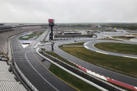 Charlotte Motor Speedway is shown in Concord, N.C., Wednesday, May 20, 2020. Some fans have been coming to the Coca-Cola 600 for decades, but they won't be allowed into Charlotte Motor Speedwaý on Sunday due to Covid-19, leaving the grandstands empty and many disappointed. (AP Photo/Steve Reed)