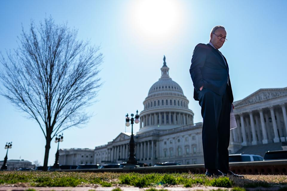 WASHINGTON, DC - MARCH 10: Senate Majority Leader Chuck Schumer (D-NY) attends a press conference on Capitol Hill on Wednesday, March 10, 2021 in Washington, DC.  (Kent Nishimura / Los Angeles Times via Getty Images)