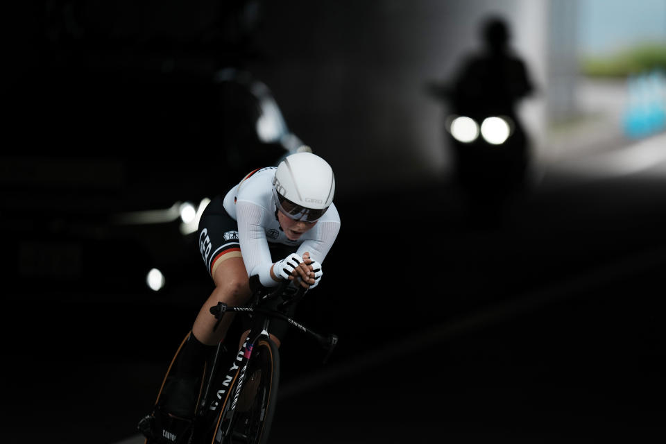 Lisa Klein of Germany during the women's cycling individual time trial at the 2020 Summer Olympics, Wednesday, July 28, 2021, in Oyama, Japan. (AP Photo/Thibault Camus)