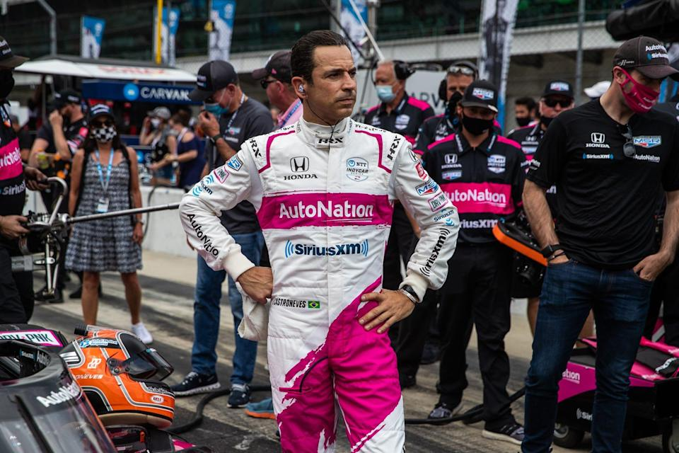 Helio Castroneves waits for his initial qualifying run for the 2021 Indy 500 on May 22.