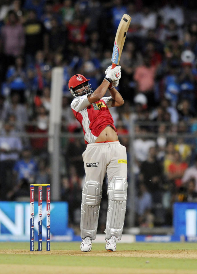 Praveen Kumar of Kings XI Punjab bats during match 41 of the Pepsi Indian Premier League ( IPL) 2013  between The Mumbai Indians and the Kings XI Punjab held at the Wankhede Stadium in Mumbai on the 29th April 2013. (BCCI)